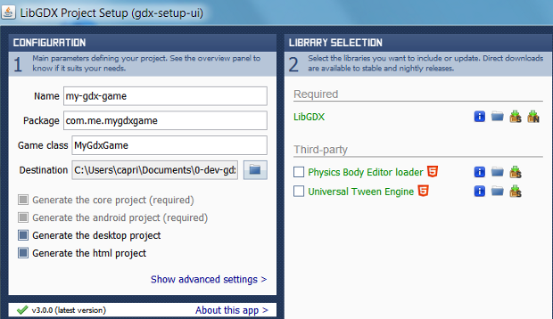 libgdx project setup